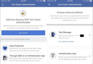 Facebook 2-factor authentication