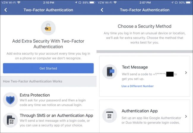 Facebook 2-factor authentication