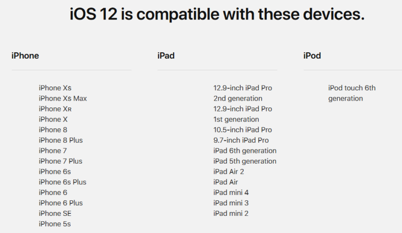 iOS 12 compatible devices - TechEngage