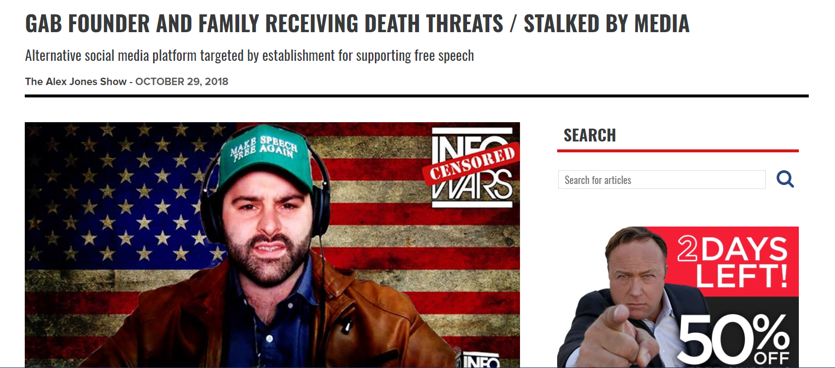 Infowars claims that Gab CEO is receiving death threats