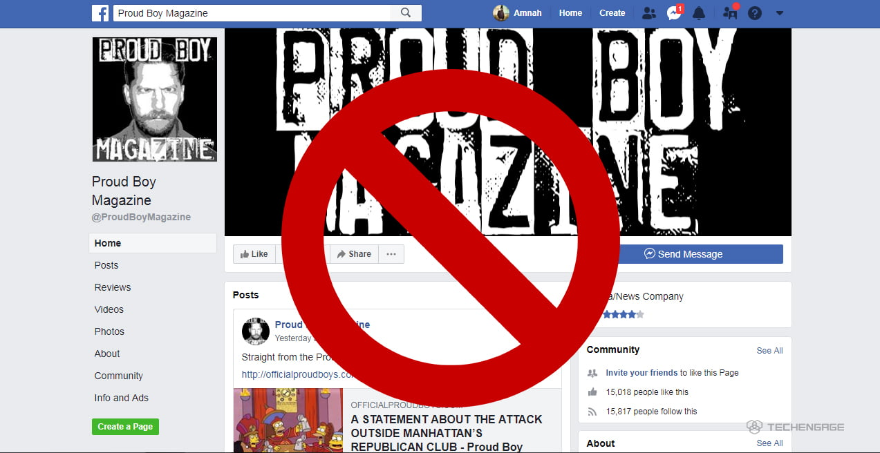 Facebook is blocking individual accounts and groups associated Proud Boys