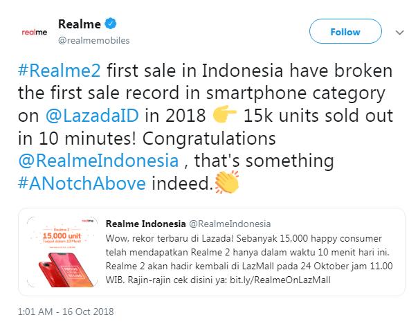 Realme 15000 units sales record