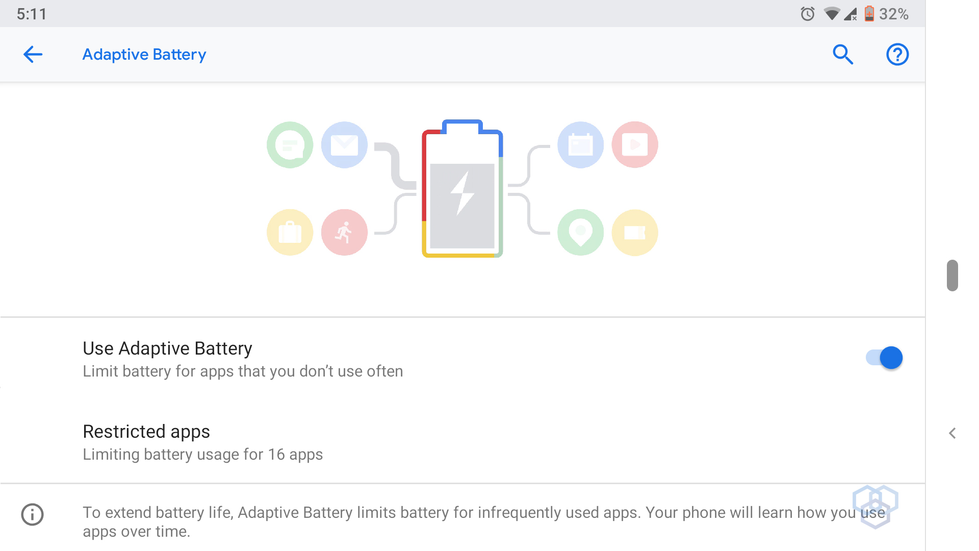 adaptive battery screenshot