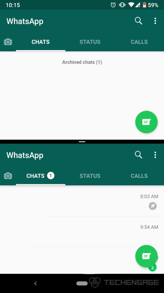 screenshot of dual whatsapp running, screenshot of double whatsapp running by abdugeek