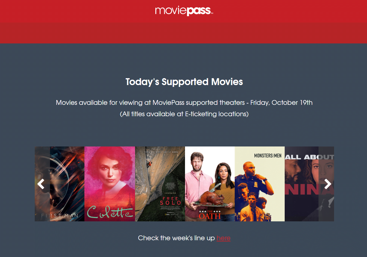 Movie subscription service Moviepass is under investigation