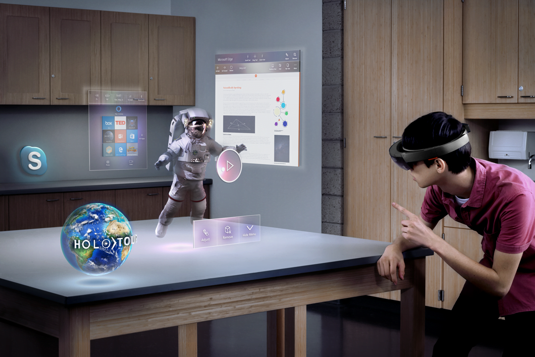 A person playing an augmented reality game using Microsoft Hololens
