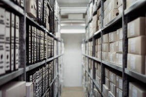 An image of medical records at a hospital in the store room