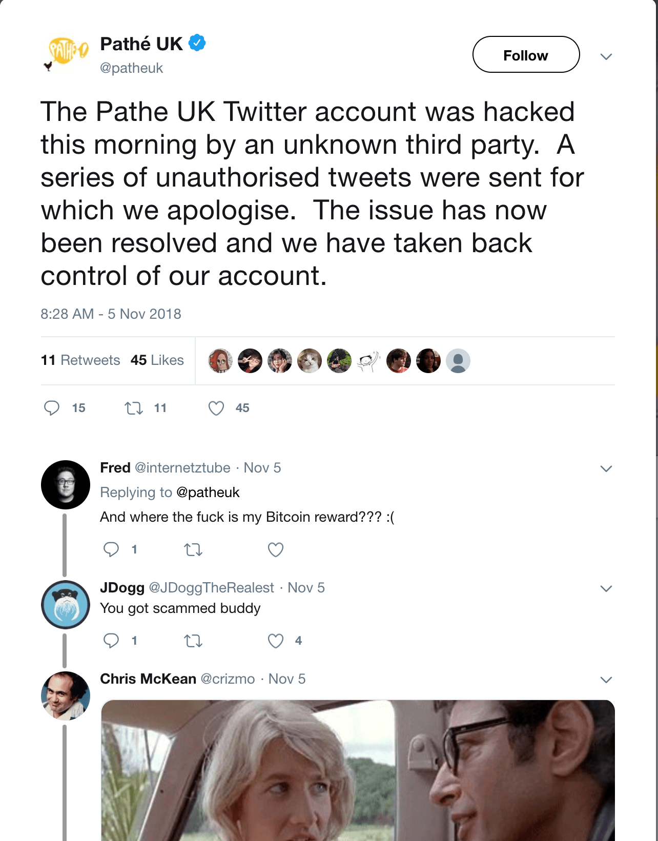 Pathé UK on Twitter The Pathe UK Twitter account was hacked
