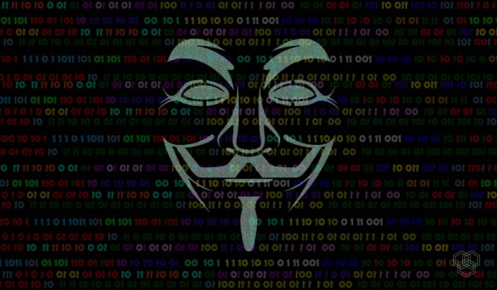 Anonymous mask hacking illustration with 1 0 bits in background