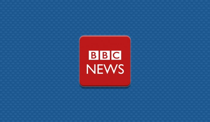 An image with BBC News app logo