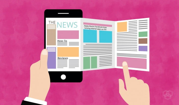 featured image design with a newspaper app open in a smartphone
