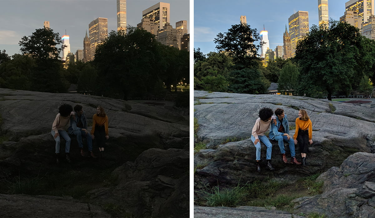 iphone xs image in low light vs google pixel 3 in low light
