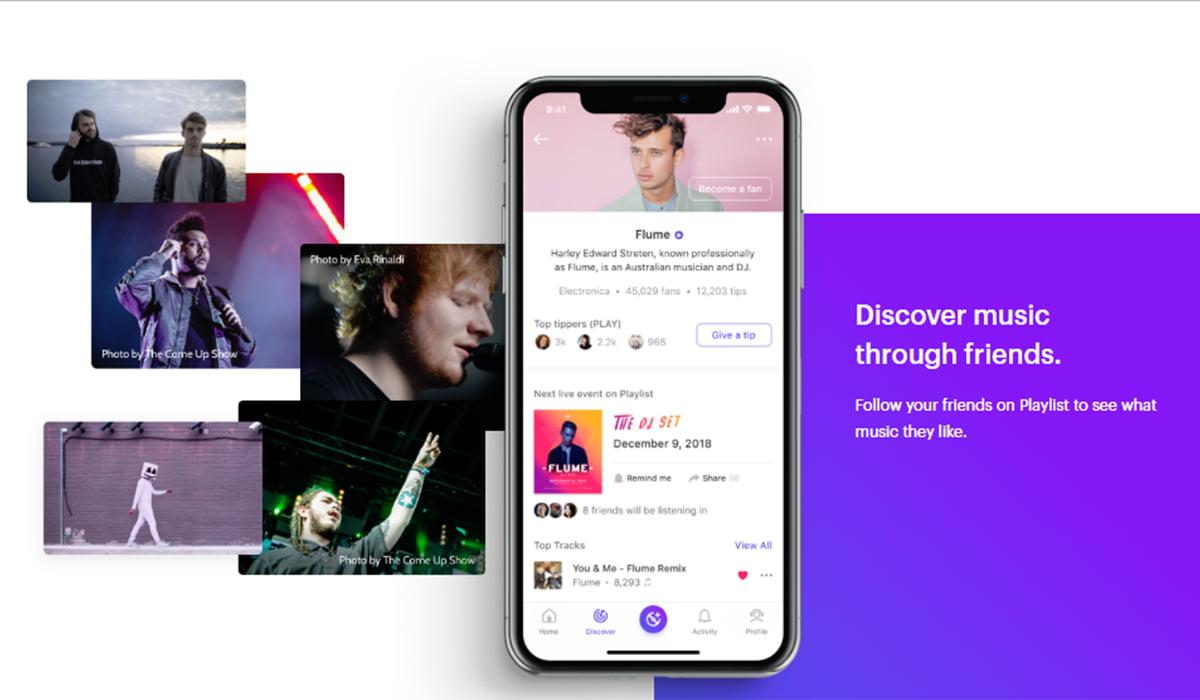 Playlist music app mockup featuring Ed Sheeran and Weekend