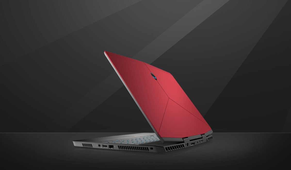 Image contains side pose Alienware m15 in red