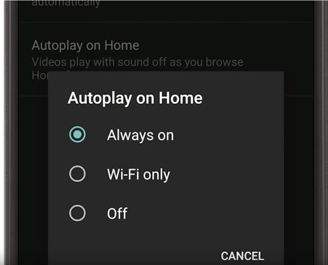 YouTube Autoplay feature on Home