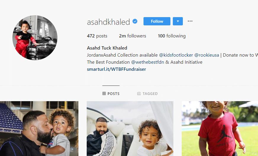 DJ Khaled's son Asahd Tuck Khaled instagram account's screenshot