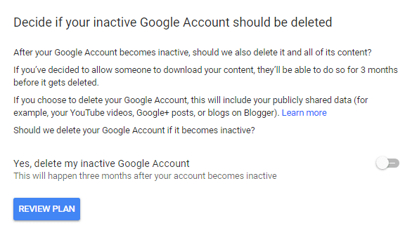 google account lock after death option
