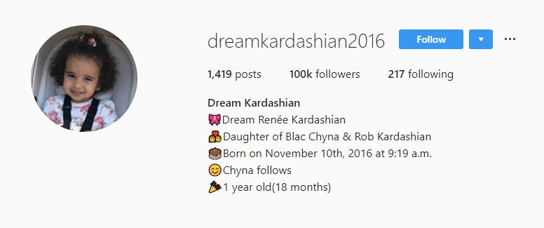 Dream Kardashian's Instagram Account