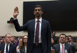 Google CEO, Sundar Pichai testifying in front of congress