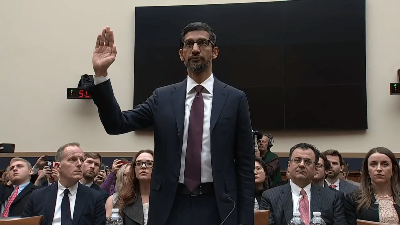 Google CEO, Sundar Pichai testifying in front of congress