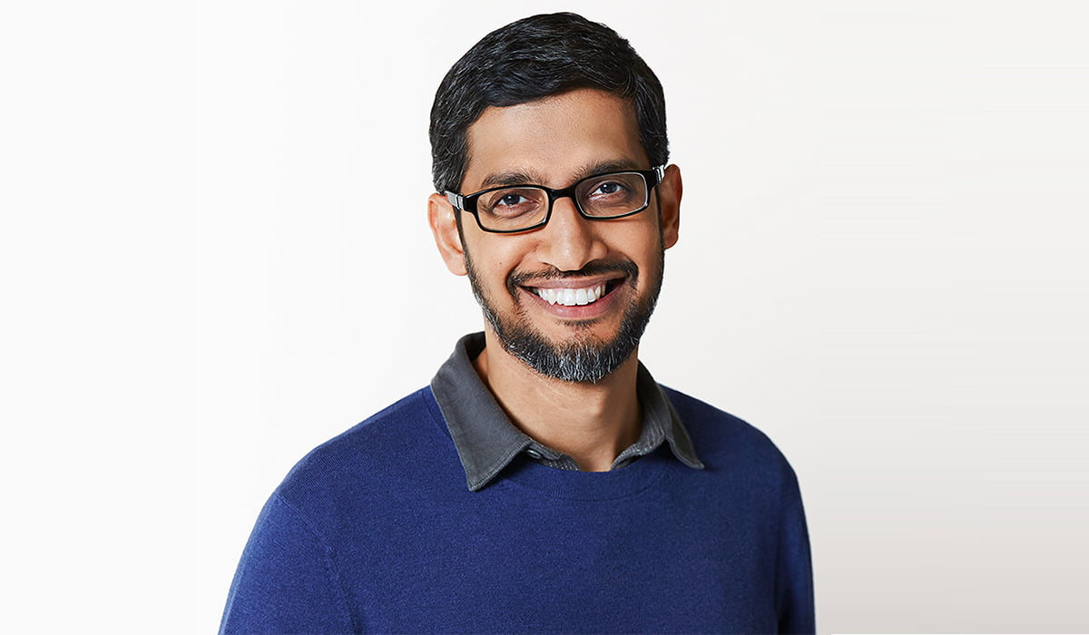 Google's CEO Sundar Pichai smiling portrait