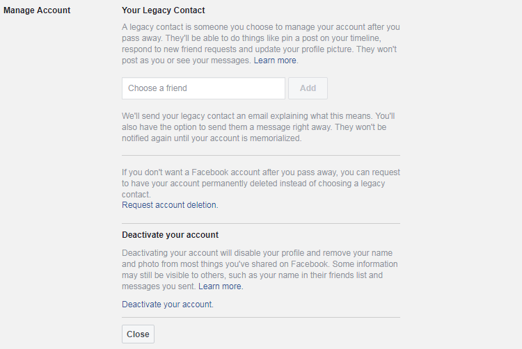 Legacy contact option on Facebook