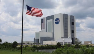NASA building with US flag on front