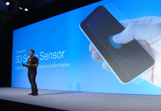 Image from Qualcomm keynote introducing 3D sonic sensor, a new under screen fingerprint for smartphones