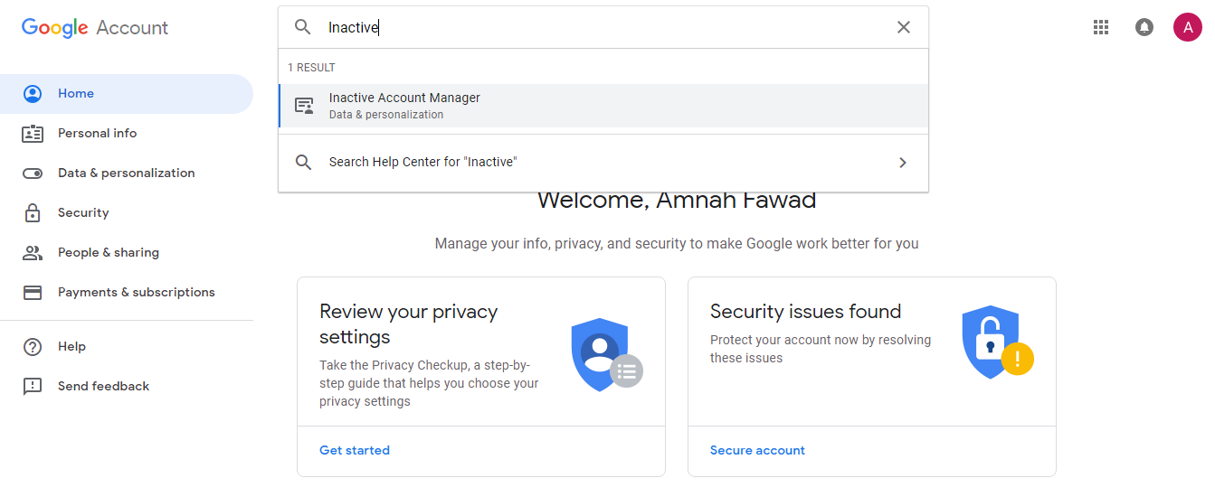 Google account inactive account manager settings