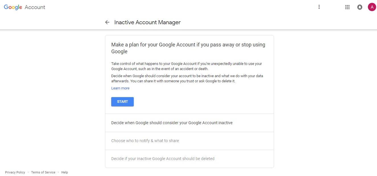 Google account inactive account manager