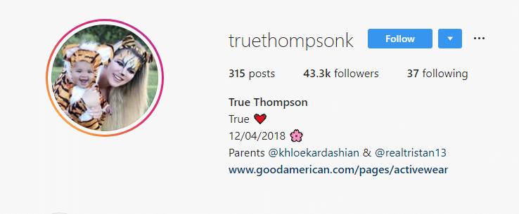 Khloe Kardashian's baby True Thompson's Instagram account screenshot