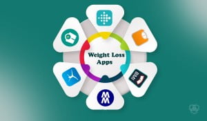 illustration showing weight loss apps