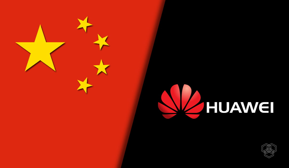 Designed image contains China flag and Huawei logo
