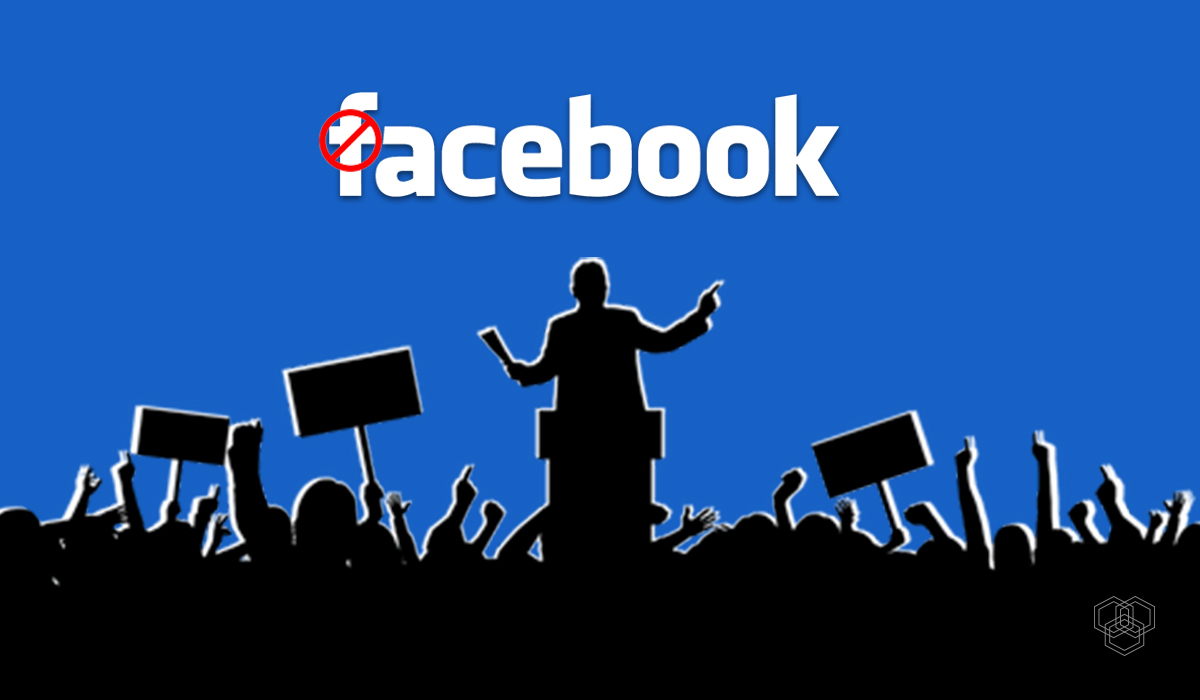 illustration contains facebook logo with crowd as vectors