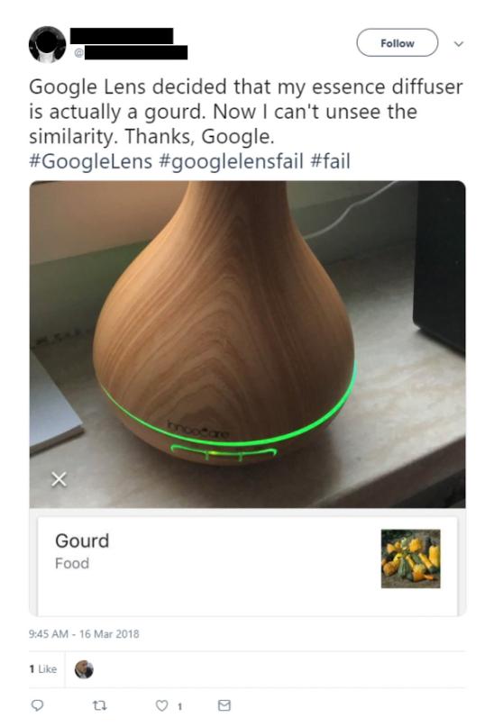 Google Lens confusion tweet
