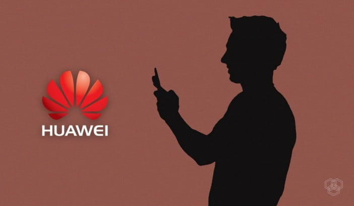 Huawei logo with a person using phone
