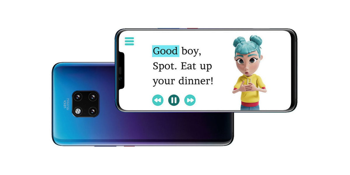 An image of huawei mate 20 pro contains StorySign app running