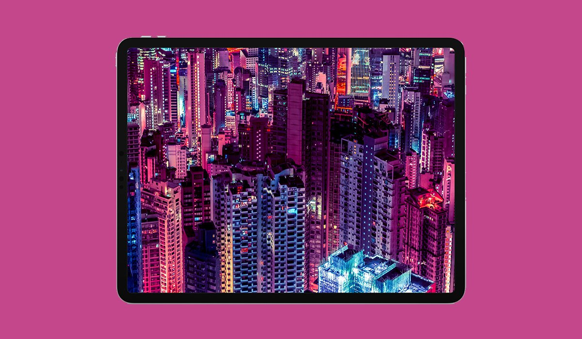 iPad Pro 2018 with Purple background