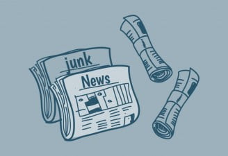 illustration contains newspaper, junk news