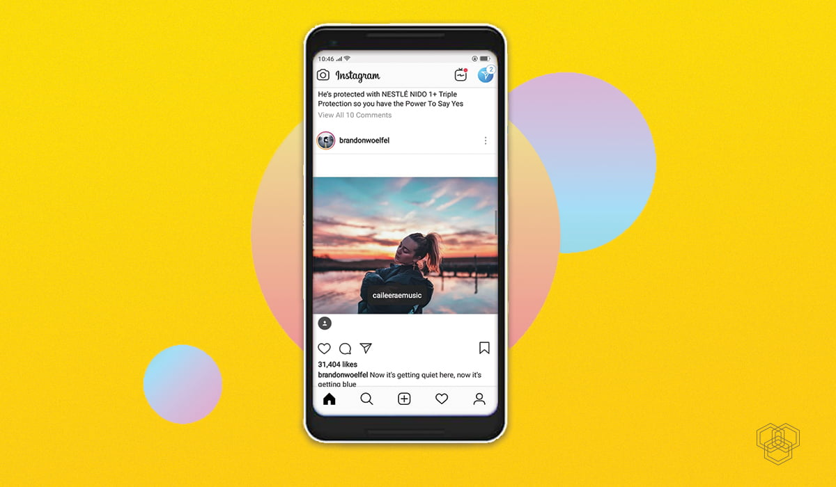 screenshot of instagram app in a phone