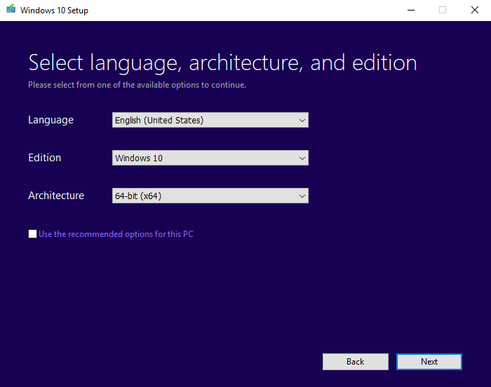 Selecting language, architecture, and edition in Windows 10 media creation tool