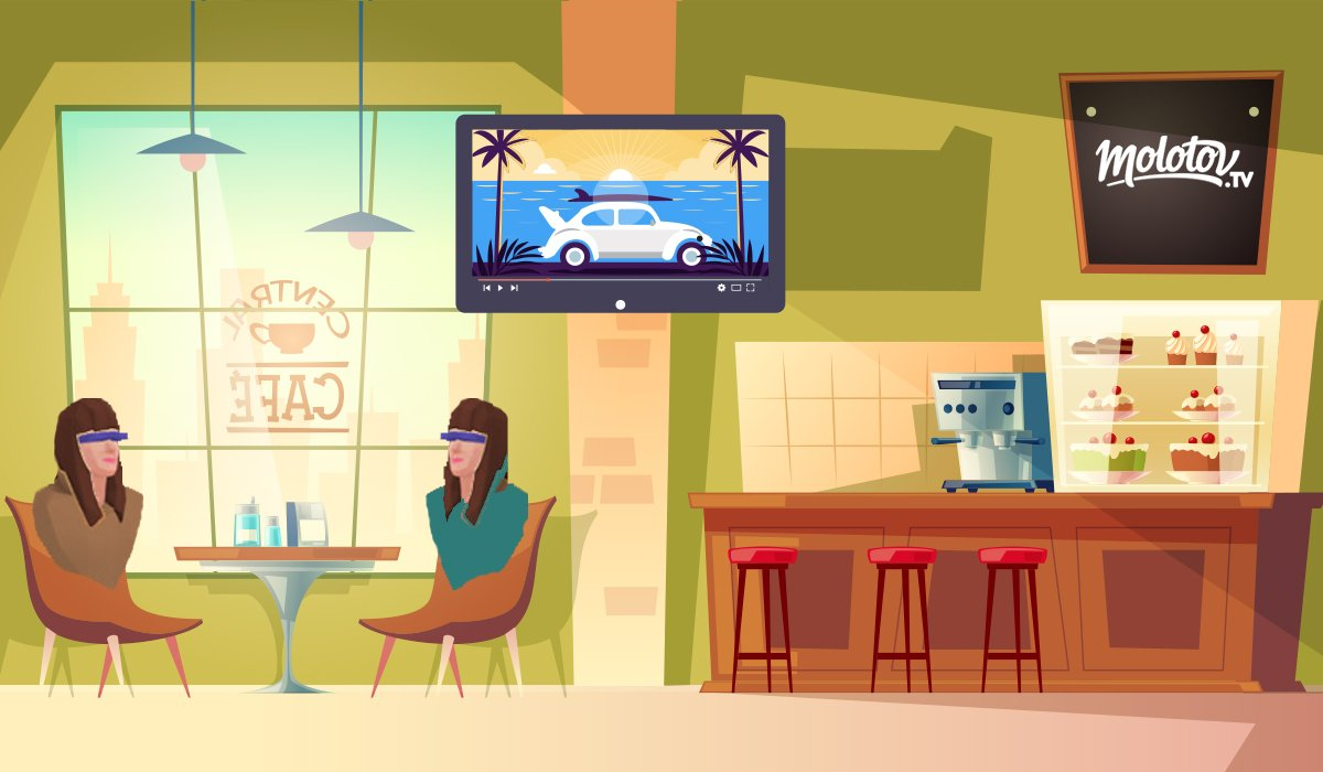 illustration of molotv vr in coffee shop