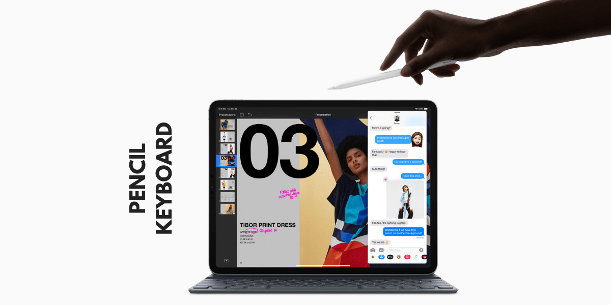 image contains apple pencil and smart folio keyboard