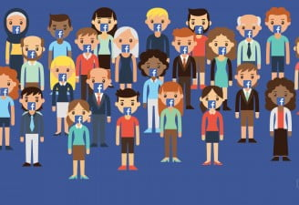 illustration contains characters of people talking about facebook