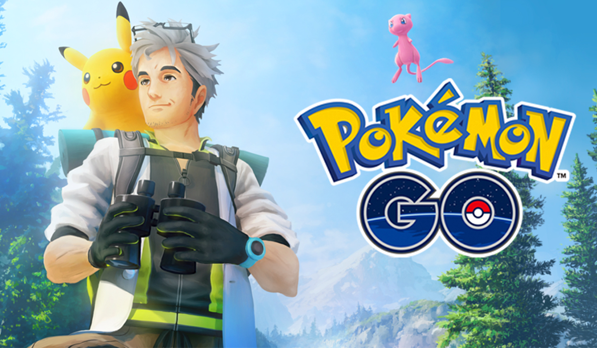 image contains pokemon go logo with pikachu and a trainer