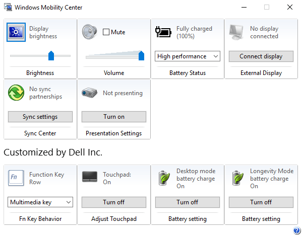 Windows Mobility Center screenshot