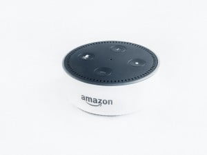 An Amazon echo dot in white