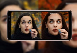 Image contains Samsung Galaxy A8 Star with two images of the same girl in different modes