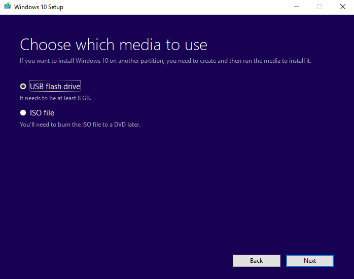 Choosing media environment for making a bootable USB using Windows media creation tool