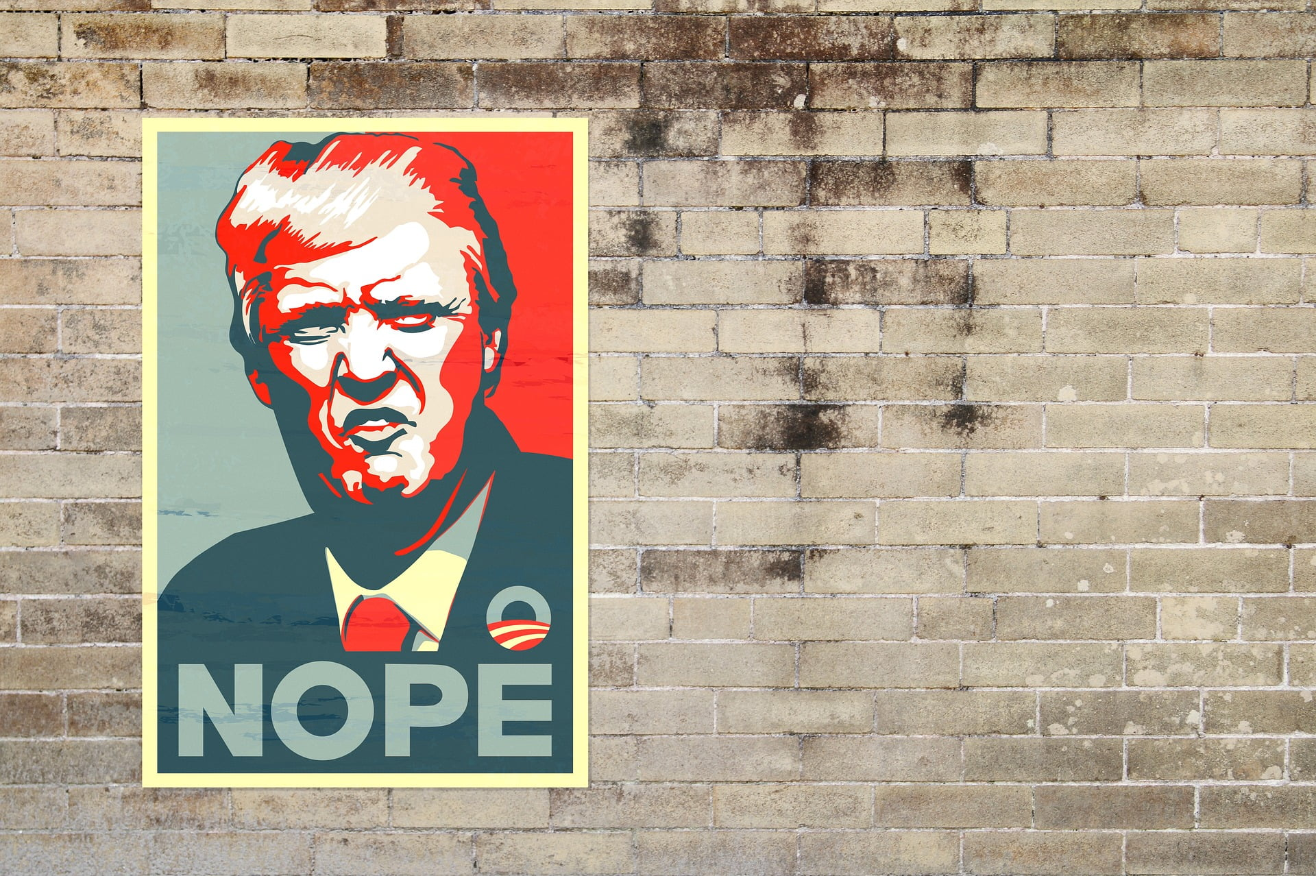 trump poster on a wall